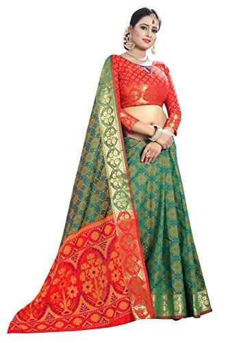 Kalapy Fashion Women's Banarasi Silk Saree With Blouse piece