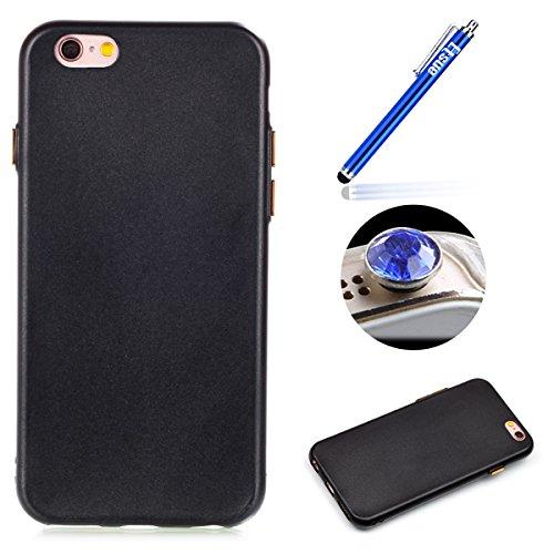 iPhone 6/6S TPU Coque, Étui iPhone 6/6S Housse de Transparent, Etui iPhone 6/6S Silicone Coque de téléphone mobile, ETSUE Créativité Luxe Belle Bling Briller Glitter Couleurs pur (ne pas disparaître)  Noir