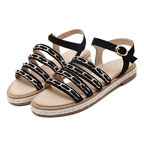 Damen Sandalen Schnalle Metallkette Flache Slingback Römische Stil Modische Schuhe Schwarz