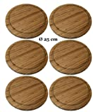 6 Stück Neustanlo® Frühstücksbrettchen Ø 25 cm Fleischteller Grillteller Vesperbrettchen Brettchen Bambus Holz Brett