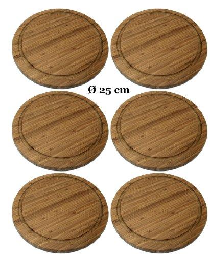 6 Stück Frühstücksbrettchen Ø 25 cm Fleischteller Grillteller Vesperbrettchen Brettchen Bambus Holz Brett althuetter-markthandel