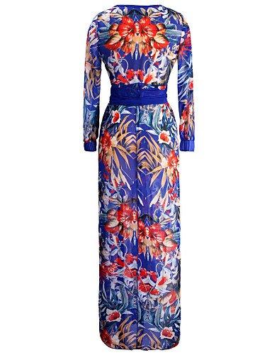 PU&PU Robe Aux femmes Swing Sexy / Soirée / Décontracté / Plage , Imprimé V Profond Maxi Acrylique / Polyester / Mousseline de soie BLUE-2XL