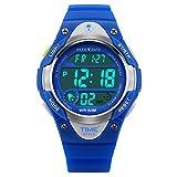 temps Style Bleu multifonction numérique à quartz Alarme EL lumière 50m montre...