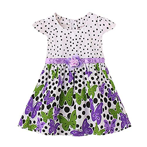 feiXIANG Sommerkleid Kleinkind Baby Punkt Druck Kleidung beiläufige Kleid Strandkleider Neugeborene Taufkleidung (Lila,L/6M)