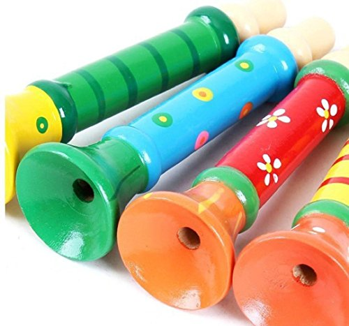 Trinkets & More™ - Wooden Trumpets Colourful | Vocal Training | Whistle Musical Instrument | Toys Kids 2+ Years (Pack of 2 - Random Colours)