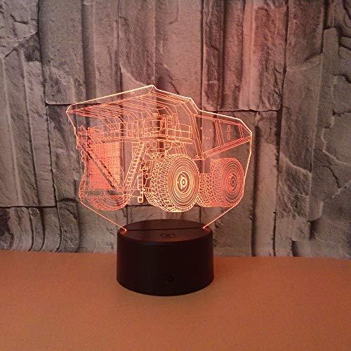 3D Illusion Lampe Bau Auto LED Nachtlicht, USB-Stromversorgung 7 Farben Blinken Berührungsschalter Schlafzimmer Schreibtischlampe für Kinder Weihnachts geschenk
