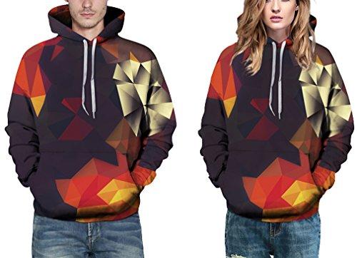EmilyLe Herren Bunte Pullover mit Taschen Hoodie Long Sleeve Kapuzenpullover 3D Druck Cartoon Muster Sweatshirt bunt Dreieck