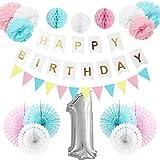 Happyhours Deko Geburtstag 1 Jahr Jungen Mädchen, Happy Birthday Girlande Deko Set Geburtstag Kindergeburtstag Deko Folienballon
