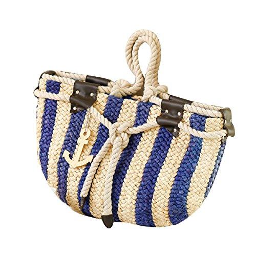Donne Blu Marino Del Vento Strisce Verticali Spalla Borse Di Paglia Sacchetti Spiaggia Vacanze Borse Da Spiaggia Blue