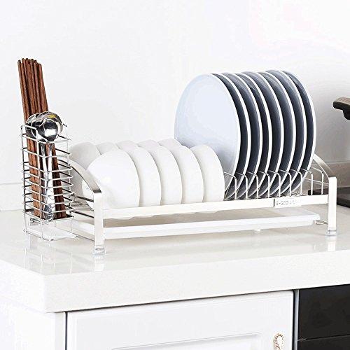 Regale Einlagige Edelstahl-Schale Abflussrinne Küchengeschirr-Lagerregal ( Farbe : A )