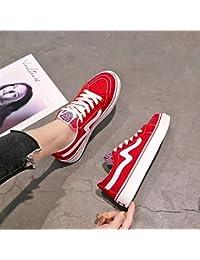 Zapatos pequeños blancos para mujer, estilo informal, coreano, para estudiantes, básicas (color rojo)