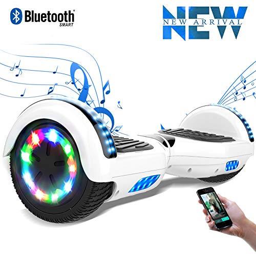 """Cool&Fun 6.5"""" Balance Board -Patinete Eléctrico Scooter Monopatín Eléctrico-con LED,Bluetooth y Motor Brillante (Blanco)"""
