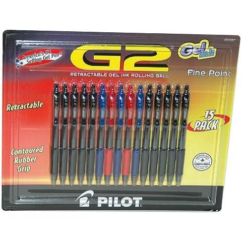 Pilot G2-Penna a sfera retrattile a inchiostro Gel, Archival Safe, 15 cm, confezione da 10 pezzi, colore: nero, 3 pezzi, colore: blu, 2 Rosso - Refill Pilot G2 Inchiostro Gel
