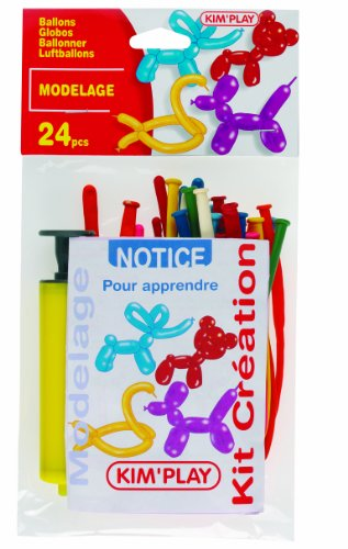 Kim'Play 1233 - Set of 24 balloons to make figures with inflating pump and instructions [imported from France]