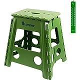 Lantelme–Taburete plegable. Taburete de plástico color verde. Impermeable para el hogar, jardín y camping