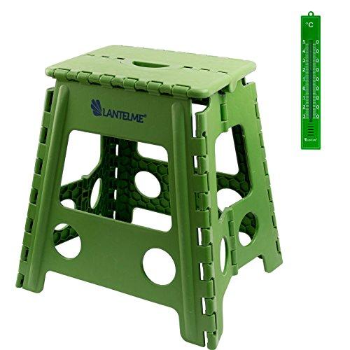 Lantelme Klapphocker . Hocker aus Kunststoff Farbe grün . Wetterfest für Haushalt , Garten und Camping