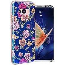 Coque S8 Plus, Aeeque® Couleur Fleurs Violet Jaune Motif Premium Silicone Souple Flexible Anti Rayure Choc Housse de Protection [La Technologie Blu-ray] Unique Dessin Coque pour Samsung Galaxy S8 Plus #10