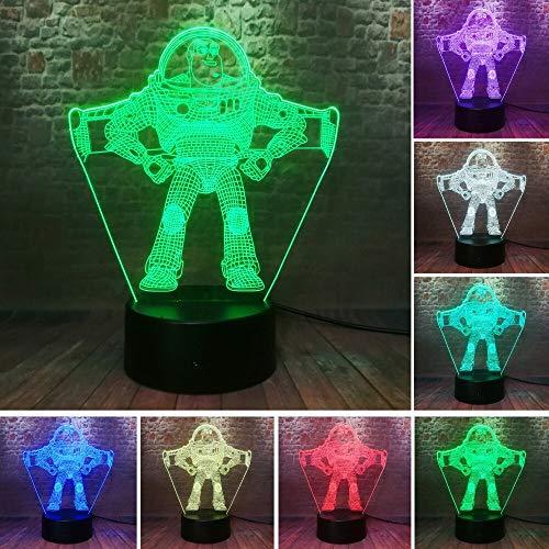 mate Buzz Lightyear Raumfahrer Nachtlicht LED 7 Farbe Astronaut Action Figure Jungen Schlafzimmer Dekor Kind Geschenke ()