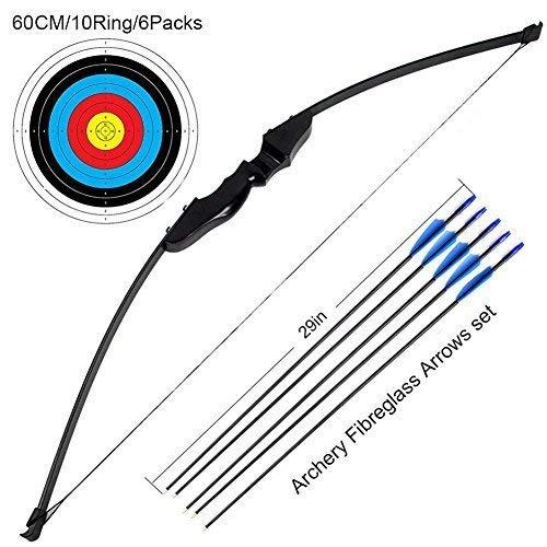 nschießen-Trainingsspielzeug für Bogen und Bogen im Freien (40LB, 5 × Pfeile, 6 × Zielflächen) ()