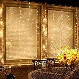 Vorhang Licht, Minger 300 LEDs Fenster Vorhang Streifenlicht Wasserdicht 3m×2m Fee Vorhang Lichter 8 Modi für Hochzeit Party Haus Garten Schlafzimmer Innen-und Außenbereich Wanddekorationen, Warmweiß