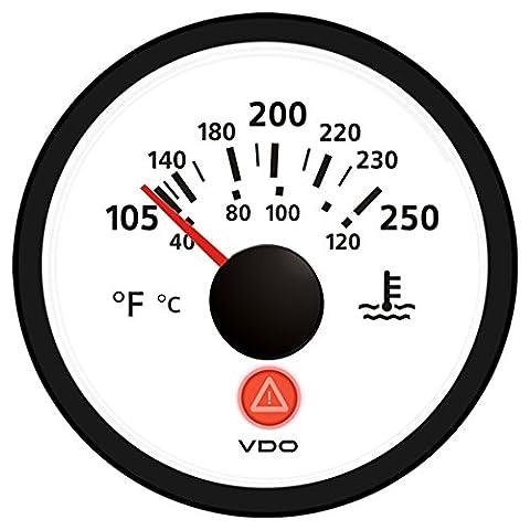 VDO Viewline Ivory 250° F/120° C Water Temperature Gauge 12/24V - Use with VDO Sender
