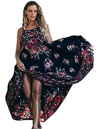 vestidos de mujer,Switchali Mujer Vendimia Impresión floral Sin mangas maxi Largo Fiesta Nocturna Vestir Bohemia vestido de playa ropa mujer nuevo 2017 barato