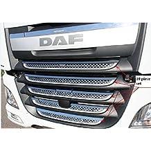 VNVIS Juego de 10 piezas de cubiertas de parrilla delantera de acero inoxidable para camiones XF