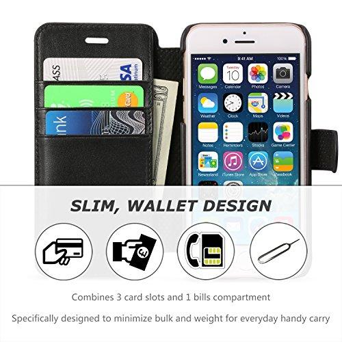 iPhone 8 Hülle, iPhone 7 Hülle, SHIELDON [Lifetime Garantie] Dünne Echt Ledertasche für iPhone 8/7 (4.7 Zoll) Schutzhülle mit Magnetverschluss Kartenfach Standfunktion, iPhone 7 ultra-slim Handyhülle  Schwarz