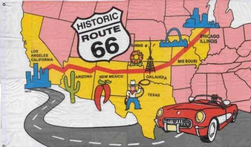 Flagge Material (5ft x 3ft (150x 90cm) Route 66American USA Adventure Map Material Flagge)
