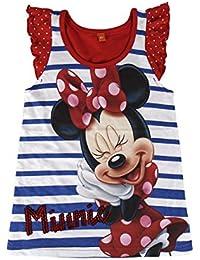 Camiseta de tirantes Minnie Mouse Disney para niñas manga corta 100% algodón color Rojo