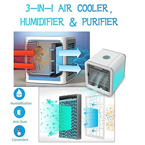 STLOVE Aire Acondicionado Móvil Ventilador 3en1 Mini Ventilador Humidificador Purificador de Aire USB Portátil Ventilador de Aire Personal Poderoso para Oficina del Dormitorio