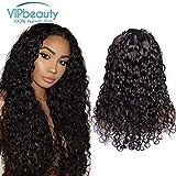 Perruque Femme Naturelle Péruvien Lace Frontale Water Wave VIPbeauty Cheveux Humaine Vierge Couleur Naturel 16 POUCES