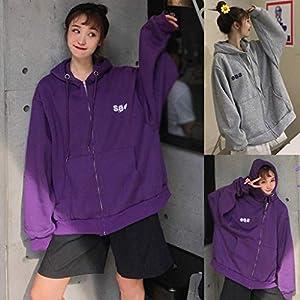 Floweworld Damen Übergrößen Mäntel mit Kapuze Wintermode Warme Langarm Einfarbig Brief Drucken Lässige Tasche Sweatshirt Mantel
