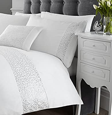 White Sequined Double Quilt Duvet Cover and 2 x Pillowcase Bedding Bed Set Modern Luxury Glamour produced by Bedmaker - quick delivery from UK.