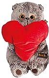 Plüschtier Katze Basik&Co mit rotem Herz 25 cm - Spielzeug für Erwachsene, Kinder & Babys weiche Kuscheltiere und süße Stofftiere für Mädchen und Jungen - Schmusekatze ideal als Geschenk