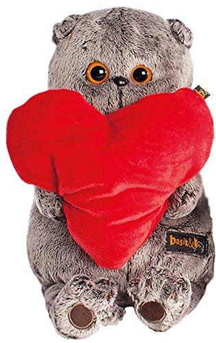 (Plüschtier Katze Basik&Co mit rotem Herz 25 cm - Spielzeug für Erwachsene, Kinder & Babys weiche Kuscheltiere und süße Stofftiere für Mädchen und Jungen - Schmusekatze ideal als Geschenk)