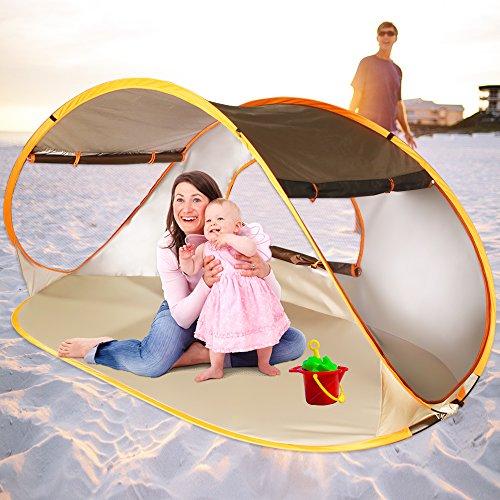 ZOMAKE Pop Up Strandmuschel, Extra Leicht Strandzelt mit Boden UV 80 Sonnenschutz - Familie Tragbares Strand-Zelt - XXL Beach Tent for Baby (Braun)