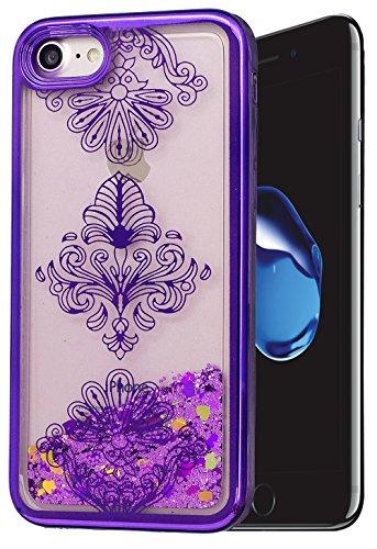 Iphone 7 Coque Silicone, Coque Iphone 7 silicone, Iphone 7 Protection, Nnopbeclik® (4.7 Pouce) Colorful Paillettes Briller Style Backcover Doux Soft Dégradé de Couleur Housse Antichoc Protection Antig fleur3