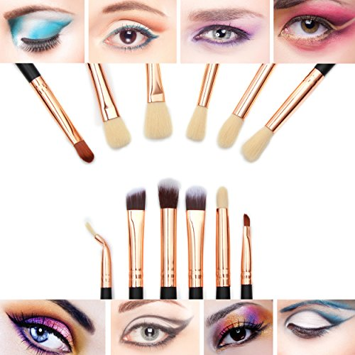 The Fellie 12pcs Eye Brushes Eyeshadow Brush Set Blending Brushes Eyeliner Brush Eye Makeup Brushes Set(Rose Gold)