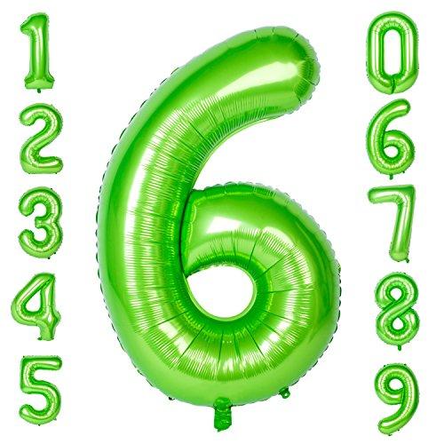 CHANGZHONG 40-Zoll 0-9 in Grün Nummer Foil Ballons Helium Zahlenballon Luftballon Riesenzahl Party Hochzeit Kindergeburtstag Geburtstag Number 6