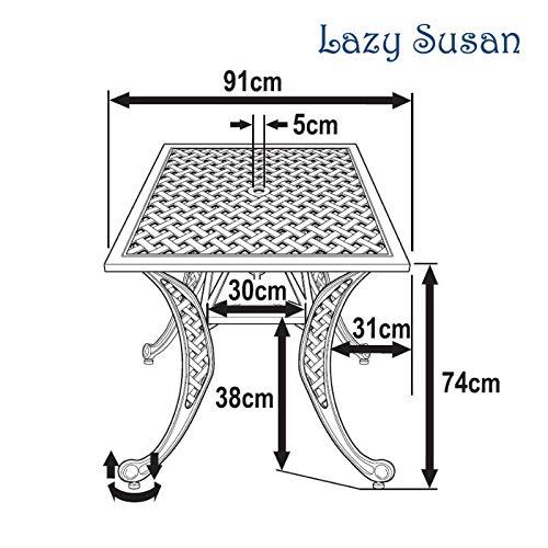 Lazy Susan – LUCY 91 cm Quadratischer Gartentisch - 5