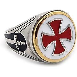 BOBIJOO Jewelry - Anillo Anillo Anillo De Hombre De Los Templarios De La Vendimia De La Cruz Roja Espada De Acero Inoxidable De Oro De Plata - 14 (7 US), Acero Inoxidable 316