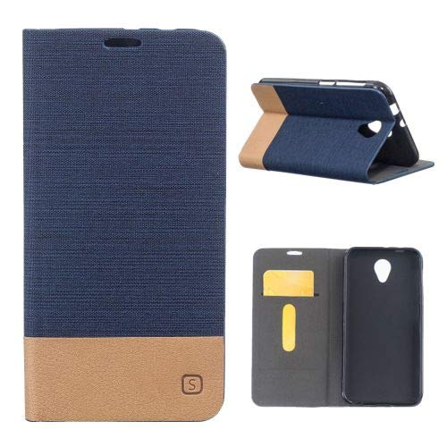 jbTec® Flip Case Handy-Hülle zu Vodafone Smart Prime 7 - Book Muster Stoff - Handy-Tasche Schutz-Hülle Cover Handyhülle Ständer Bookstyle Booklet, Farbe:Navy-Blau