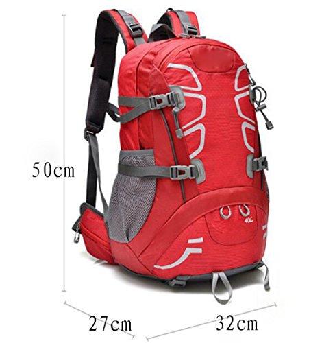 Sport All'aria Aperta Avventura Impermeabile Zaini Durevoli Borsa A Tracolla Per Arrampicata Camping Escursionismo Viaggiare Alpinismo,Red Orange