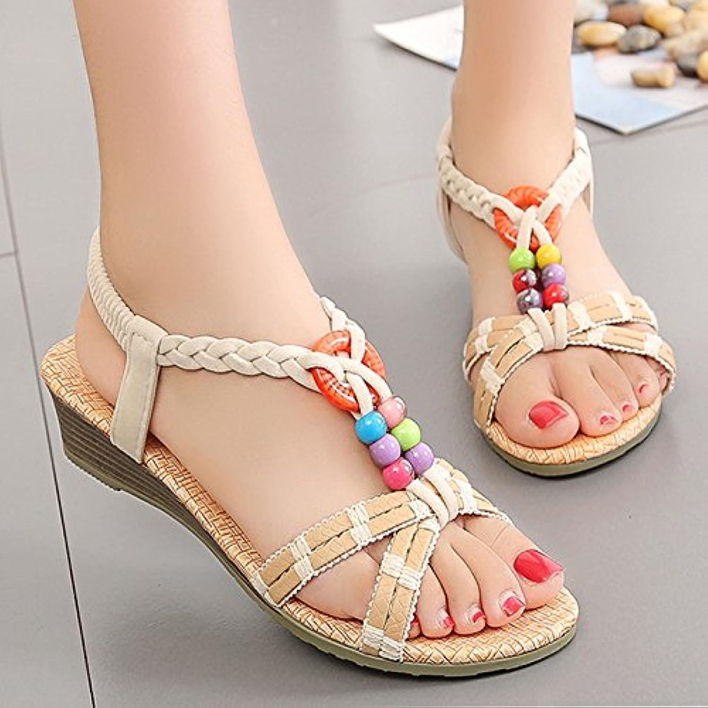 YMFIE Estate lady's sandali bohemian confortevole antiscivolo con fondo morbido morbido morbido piatto scarpe da spiaggia,40 UE,l | lusso  cb5659