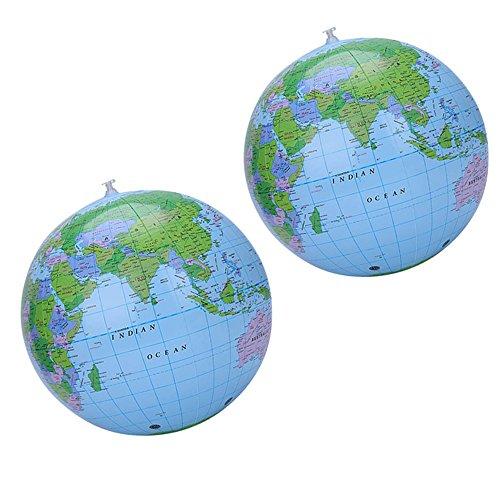Pingenaneer Wasserball Kugel Beach Ball Strandball Aufblasbar Globus PVC Weltkugel Erde für Spielt ode Unterrichtet, Durchmesser 40 cm( 2 Packung)