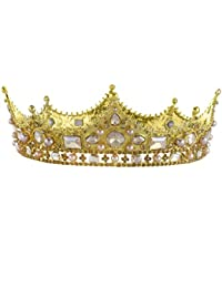 Santfe 2'' Barroco Royal King Corona Diadem Crystal Ruby Queen Tiaras Pageant Boda Novia Accesorios para el Cabello