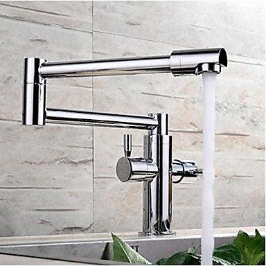 Hiendure Mode Laiton Haute pliable Robinets de cuisine lavabo robinet ,chrom