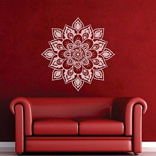 mairgwall Namaste flor mandala pared vinilo decoración Mandala flor de loto Yoga papel pintado religiosa decoración de la pared vinilo adhesivo Home arte B (X-Large, Blanco) por mairgwall