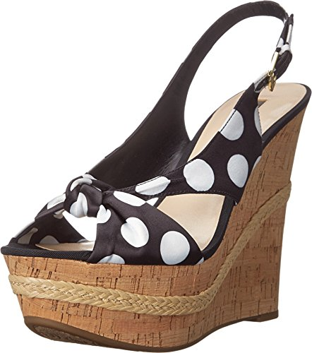 Guess Damen Delilan Bedruckte Keile, Schwarz (Black Multi Fabric), 39.5 EU Guess Peep Toe Wedges
